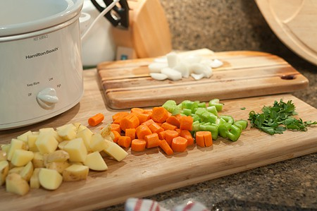 Veggies prepped for Slow Cooker Chicken Stew