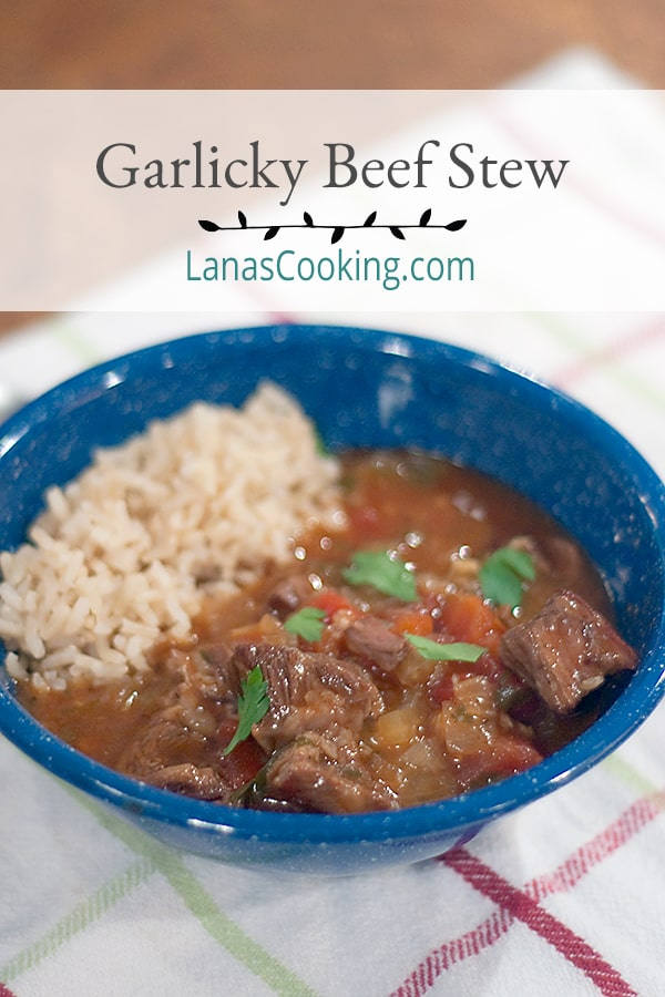 Serve this Garlicky Beef Stew with loads of onions and a whole head of garlic is for your Halloween dinner. Keeps the vampires away! From @NevrEnoughThyme https://www.lanascooking.com/garlicky-beef-stew/