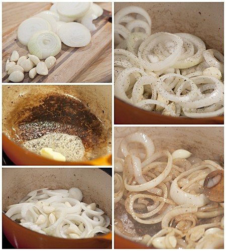 Onions and garlic for Garlicky Beef Stew