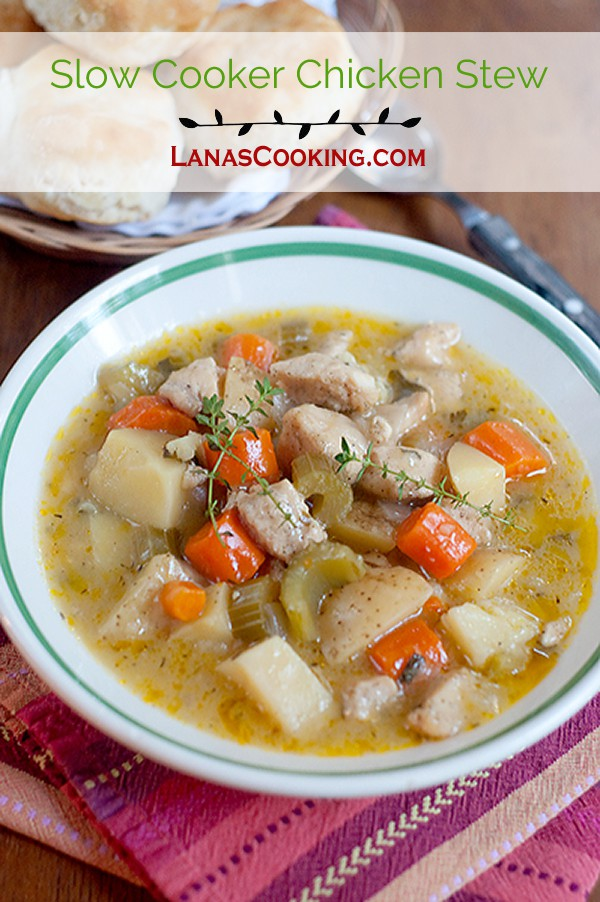 A hearty, Slow Cooker Chicken Stew perfect for a fall dinner. From @NevrEnoughThyme https://www.lanascooking.com/slow-cooker-chicken-stew
