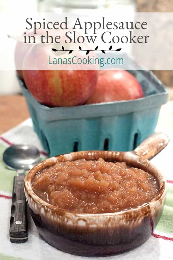 Spiced Applesauce in the Slow Cooker - Homemade applesauce couldn't be easier. Pop all the ingredients in the slow cooker and six hours later...applesauce! From @NevrEnoughThyme http://www.lanascooking.com/spiced-applesauce-in-the-slow-cooker/