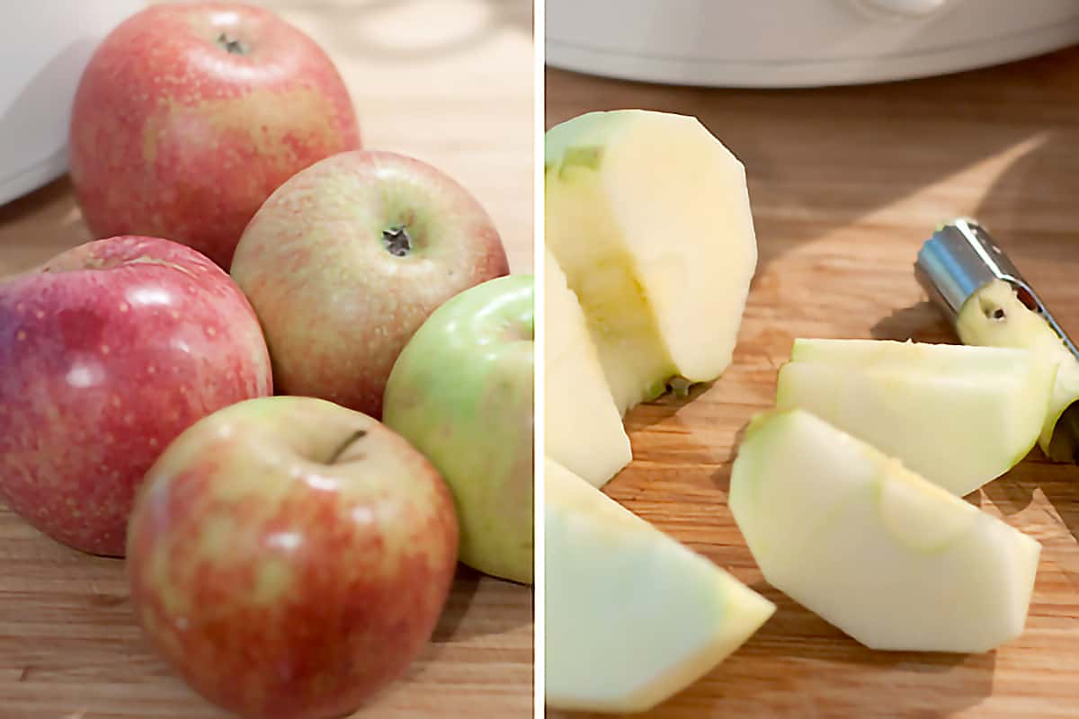 Left: A variety of red and green apples; Right: Apples cored, peeled, and sliced