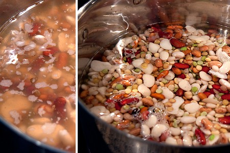 Soaked beans for 15 Bean Soup