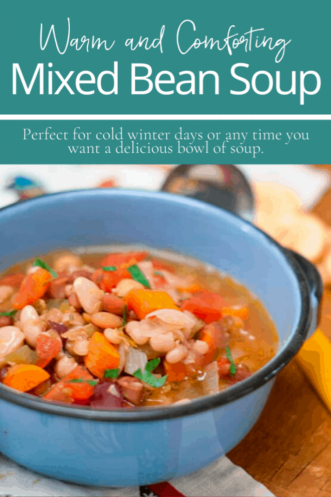 Warm and Comforting Mixed Bean Soup featuring a mix of 15 types of beans. Perfect for cold winter days or any time you want a delicious bowl of soup. From @NevrEnoughThyme https://www.lanascooking.com/15-bean-soup/