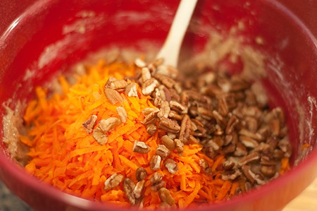Add carrots and pecans to bread mixture.