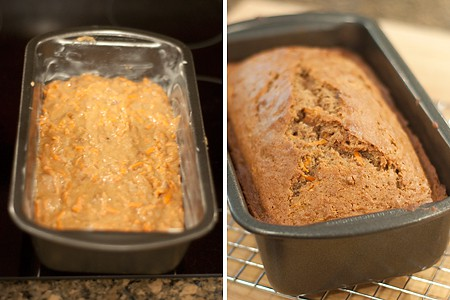 Batter in a loaf pan (left), and after baking (right).