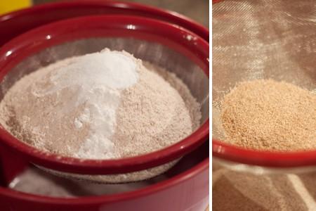 Flour, baking powder, baking soda, cinnamon, and salt in a sifter.