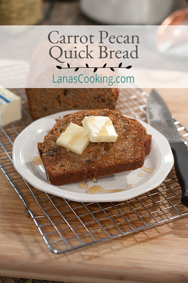 Carrot Pecan Quick Bread - an easy bread made with loads of carrots, warm fall spices, and cane sugar. Great for breakfast, dessert, or afternoon snack. https://www.lanascooking.com/carrot-pecan-quick-bread/