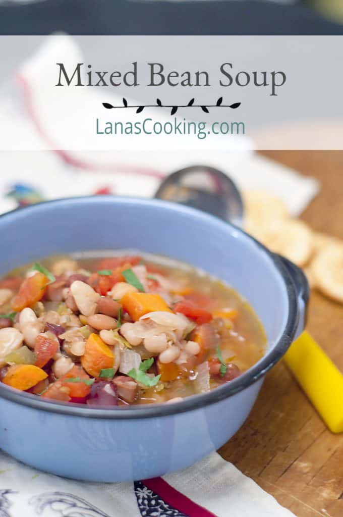 A bowl of mixed bean soup with a serving ladle alongside. Text overlay for pinning.