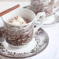 Spiced Hot Cocoa for Election Day - creamy, rich, and comforting hot chocolate spiced with cinnamon, nutmeg, and vanilla. From @NevrEnoughThyme https://www.lanascooking.com/spiced-hot-cocoa-for-election-day/