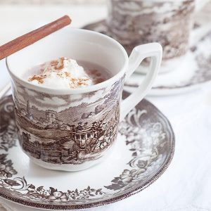 Spiced Hot Cocoa for Election Day - creamy, rich, and comforting hot chocolate spiced with cinnamon, nutmeg, and vanilla. https://www.lanascooking.com/spiced-hot-cocoa-for-election-day/