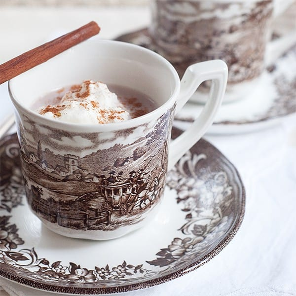 Spiced Hot Cocoa - Hot cocoa spiced with cinnamon, nutmeg, and vanilla. From @NevrEnoughThyme http://www.lanascooking.com/spiced-hot-cocoa-for-election-day