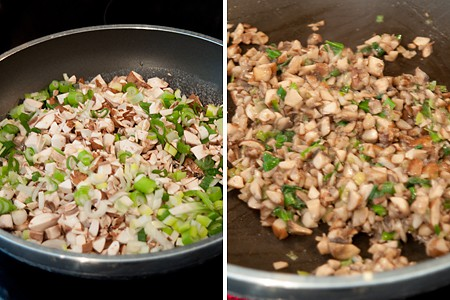 Mushrooms and green onions cooking in a skillet.