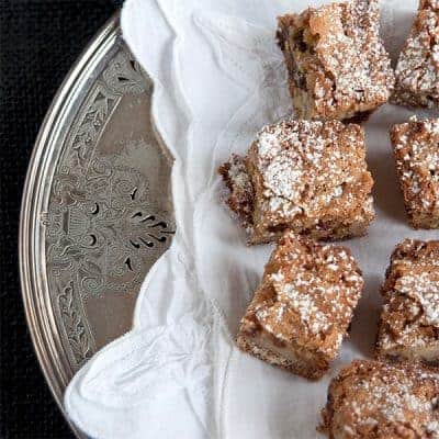 A very old recipe for Chinese Chews, a traditionally southern Christmas bar cookie treat featuring nuts and dates. From @NevrEnoughThyme https://www.lanascooking.com/chinese-chews/