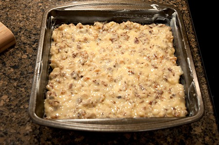 Chinese Chews mixture spread in 8x8 pan
