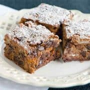 These graham cookie bars are easy to make with chocolate chips and butterscotch morsels. https://www.lanascooking.com/graham-cookie-bars/