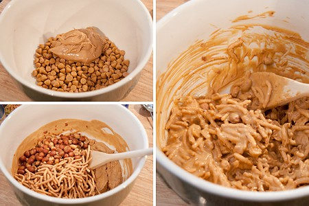Melt butterscotch chips and peanut butter; add peanuts and noodles