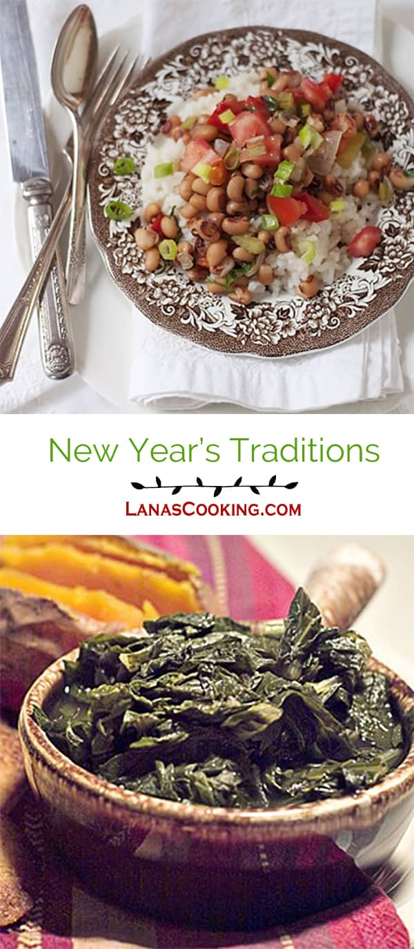 Welcome in the new year with a traditional Southern New Year's Day meal. Blackeyed peas for luck and greens for wealth.