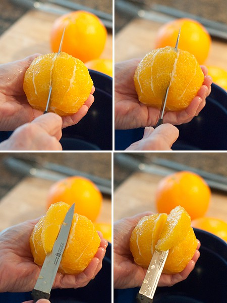Sectioning oranges for Ambrosia