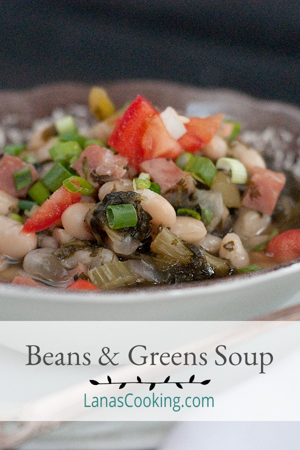 Beans and Greens Soup - a great winter soup featuring dried great northern beans and turnip greens. Economical and nutritious! From @NevrEnoughThyme https://www.lanascooking.com/beans-and-greens-soup/