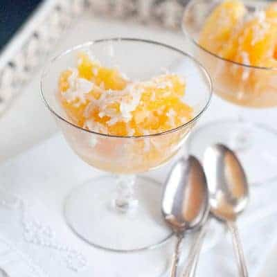 Mama's Ambrosia - My mother's ambrosia recipe - a simple mix of Navel oranges and coconut with clean, bright flavors. From @NevrEnoughThyme https://www.lanascooking.com/mamas-ambrosia