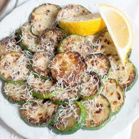 Pan Fried Zucchini with Lemon and Parmesan - Fresh, tender pan fried zucchini sprinkled with lemon juice and Parmesan cheese. From @NevrEnoughThyme http://www.lanascooking.com/pan-fried-zucchini-with-lemon-and-parmesan
