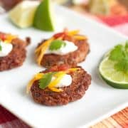 Convenient, thrifty, and nutritious dried beans are used to create these pinto bean cakes for a southwest themed appetizer perfect for a tailgate party. https://www.lanascooking.com/pinto-bean-cakes-with-salsa-and-sour-cream/