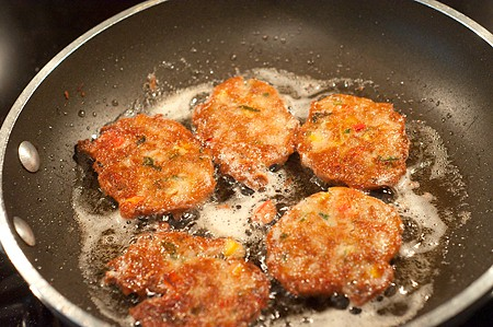 Pinto Bean Cakes frying - 2nd side