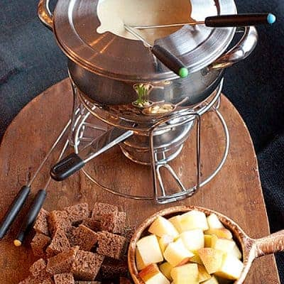 Classic Cheese Fondue with Swiss and Gruyere