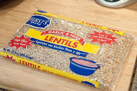 A bag of garlic and herb flavored lentils.