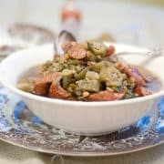 Lentil and Sausage Gumbo Soup - Lentils take the place of a second protein in this deliciously flavored soup based on traditional Louisiana-style gumbo. https://www.lanascooking.com/lentil-sausage-gumbo-soup/
