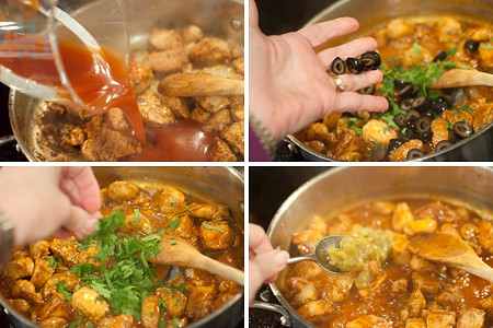 Adding ingredients to cooked chicken in a pan.