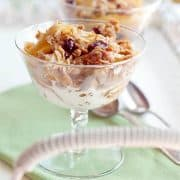 Apple Cranberry Crumble - A perfect crumble for any time of year using always available apples and dried cranberries. https://www.lanascooking.com/apple-cranberry-crumble/
