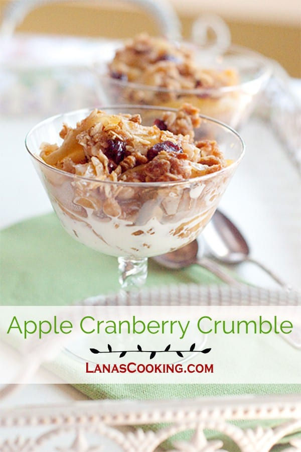 Apple Cranberry Crumble - A perfect crumble for any time of year using always available apples and dried cranberries. From @NevrEnoughThyme http://www.lanascooking.com/apple-cranberry-crumble