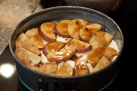 Arrange apples slices on top of batter