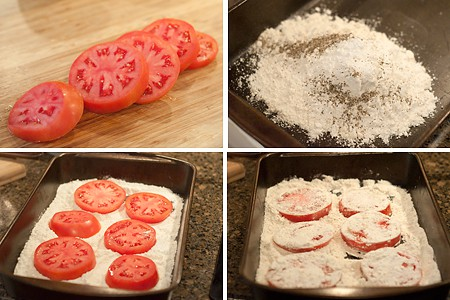 Preparing tomatoes for Fried Tomatoes with Cream Gravy