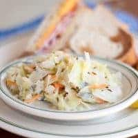 Hot cabbage slaw in a serving dish.