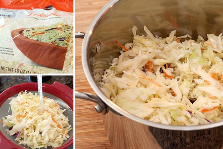 Rinsing slaw (left); cabbage slaw in a saucepan (right).