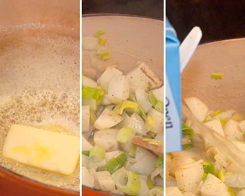 Cooking Leek and Potato Soup