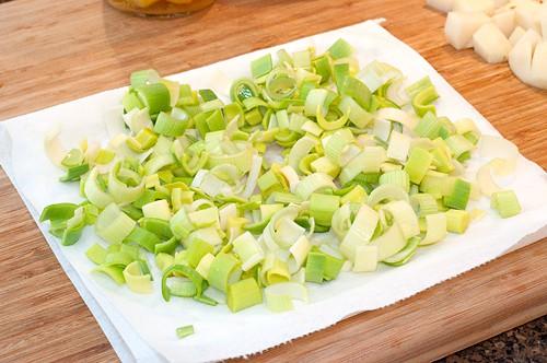 Drying leeks for Leek and Potato Soup
