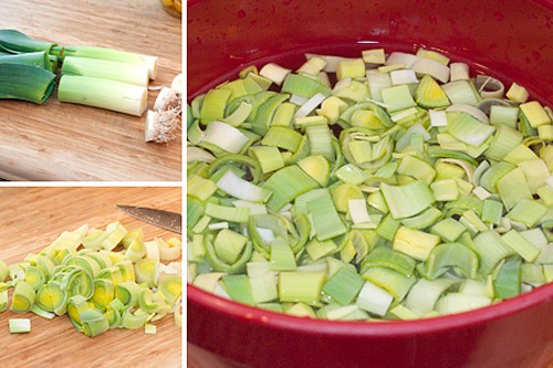 Prepping leeks for Leek and Potato Soup