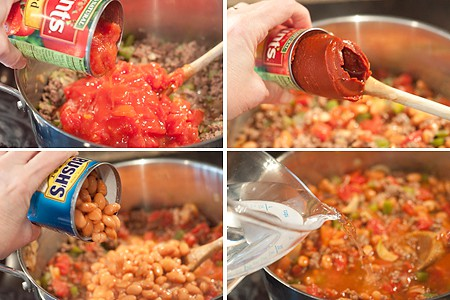 Add tomatoes, beans, water to the skillet.
