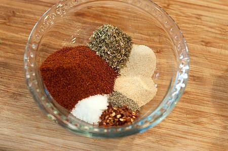 Seasonings measured into a small bowl.