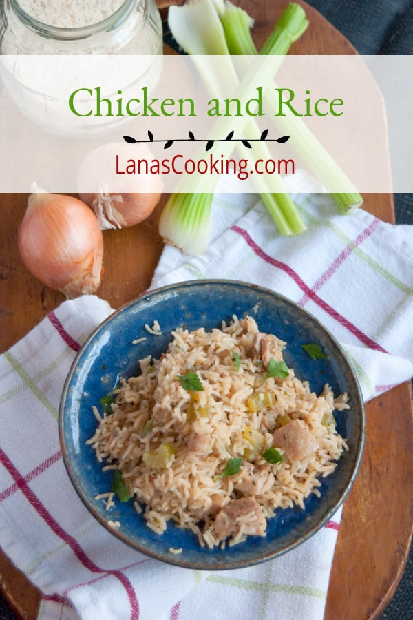 This Chicken and Rice is old-fashioned comfort food, pure and simple. Chicken, rice, celery, and onions steam together in one pot for a simple family meal. From @nevrenoughthyme https://www.lanascooking.com/chicken-and-rice/