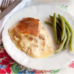 My fantastic vintage recipe for Chicken Pie. No peas, no carrots, just crust, gravy, and chicken. Very easy and family-friendly! https://www.lanascooking.com/chicken-pie/