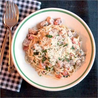 Creamy Ham and Red Bell Pepper Pasta - A recipe for a rich, creamy ham and red bell pepper pasta sauce using cream, cream cheese, Parmesan, and basil. From @NevrEnoughThyme https://www.lanascooking.com/creamy-ham-and-red-bell-pepper-pasta/