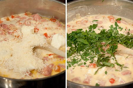 Adding parm, basil and parsley to Creamy Ham and Red Bell Pepper Pasta