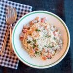 Creamy Ham and Red Bell Pepper Pasta