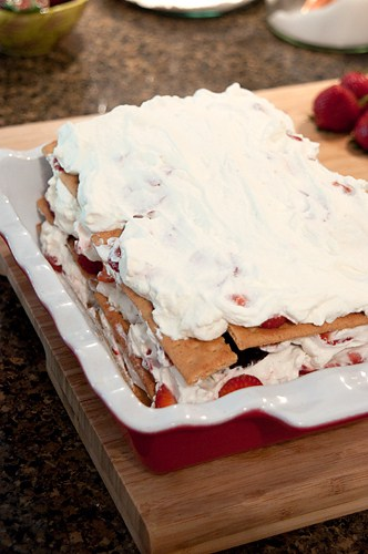 Assembled Strawberry Icebox Cake