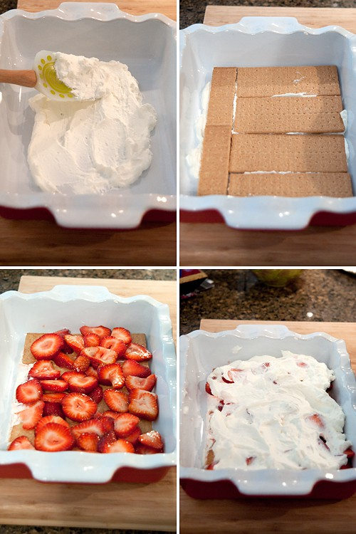 Layering Strawberry Icebox Cake